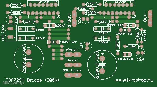KIT erősítő mono végfok 1x 200 W hídban kötött 2 TDA7294 IC-vel