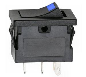 Billenőkapcsoló 12V visszajelzős kék LED-el 090-27