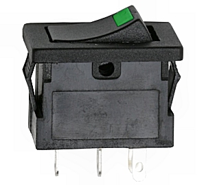 Billenőkapcsoló 12V visszajelzős zöld LED-el 090-27-4