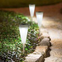LED szolár lámpa műanyag - kúp alak 28 cm 11376