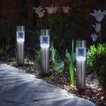 LED szolár lámpa fém - henger alakú 20 cm 11-377
