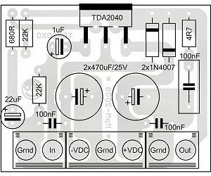 KIT erősítő mono végfok 1x  20W TDA2040-al