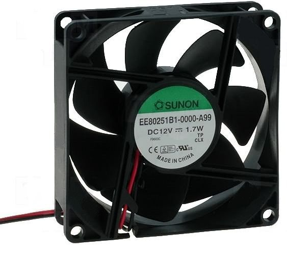 Ventillátor  80 x 80 x 25 12V DC KDE1208PTS1-6OC 490-012