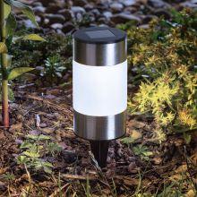 LED szolár lámpa fém, opál, henger alakú 13 cm 11-377B