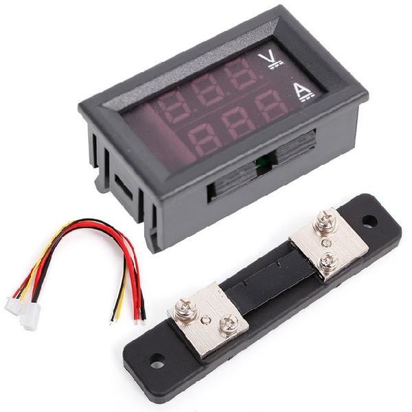0-100V / 50A Piros/Kék digitális voltmérő Ampermérő 2in1